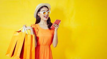 Asian Model Shopping Bags Phone Orange Dress