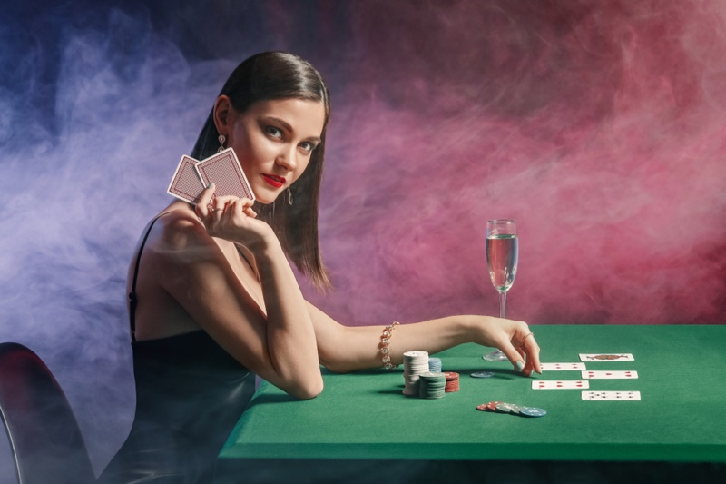 Attractive Woman Cards Table Casino