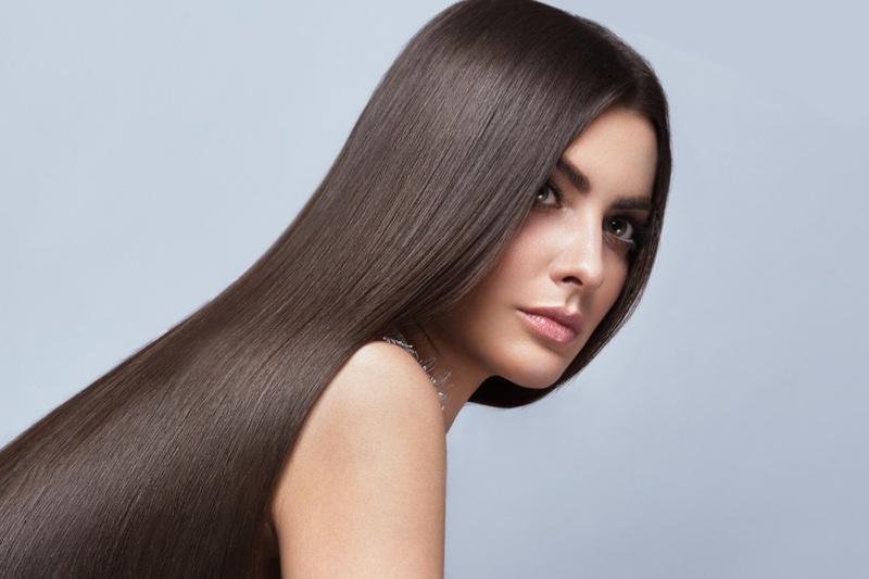 Beauty Model Long Brown Hair