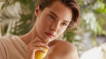 Beauty Model Skin Natural Holding Lemon
