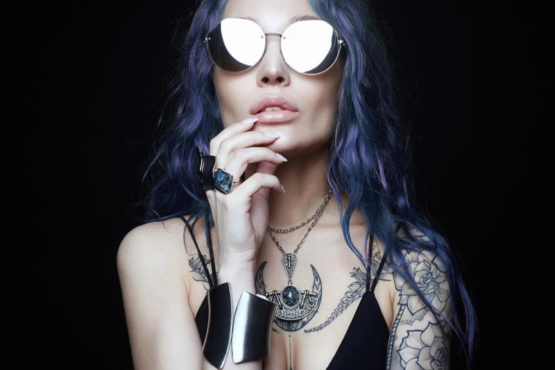 Beauty Model Sunglasses Purple Hair Tattoos Jewelry Alt