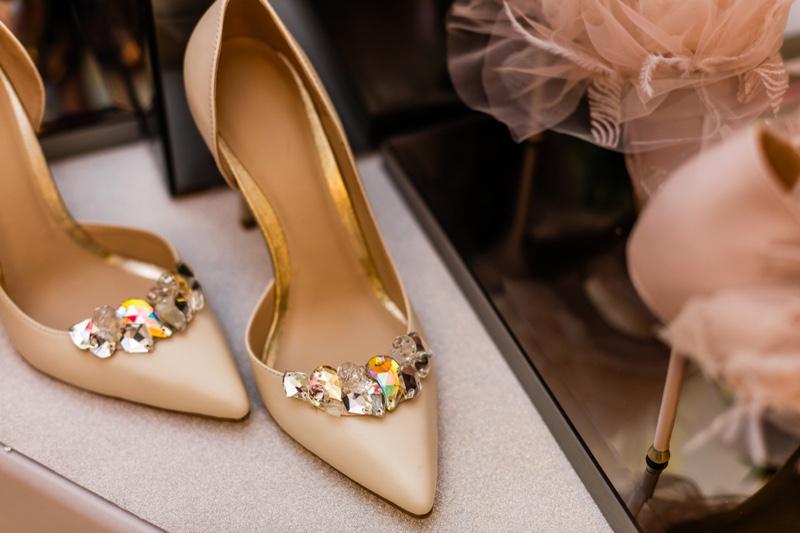 Beige Embellished Crystal Heel Pumps