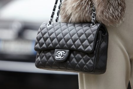 Black Chanel Flap Bag Street