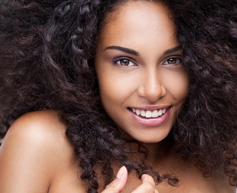 Black Woman Curly Hair Fresh Skin Beauty