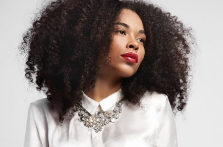 Black Woman Curly Natural Hair Red Lipstick