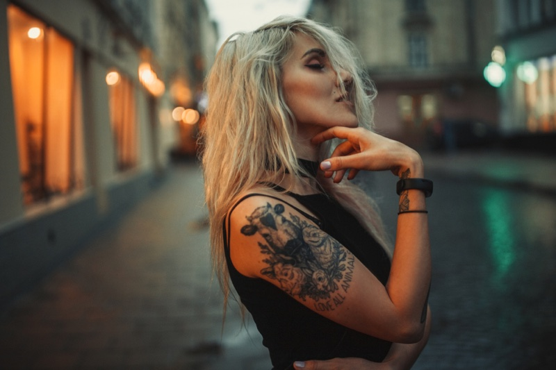 Blonde Girl Tattoo Arm Outdoors