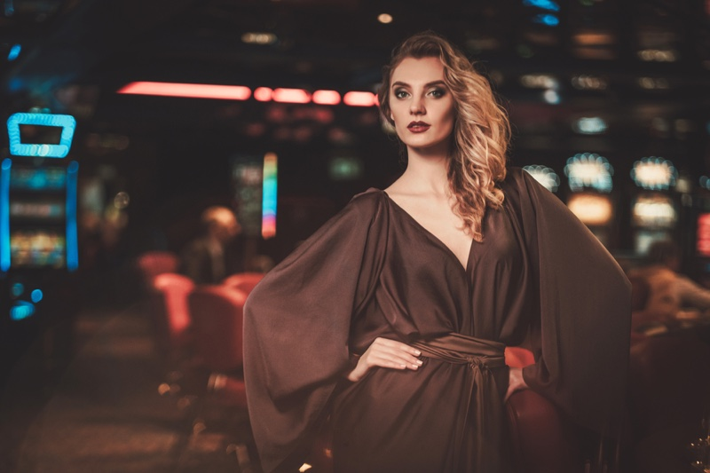 Blonde Woman Casino Interior Full Sleeve Dress