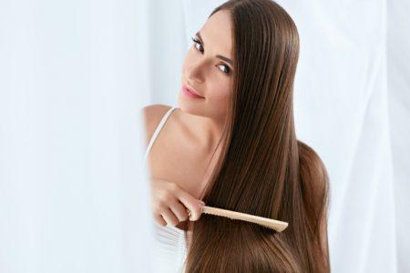 Brunette Model Combing Long Natural Hair