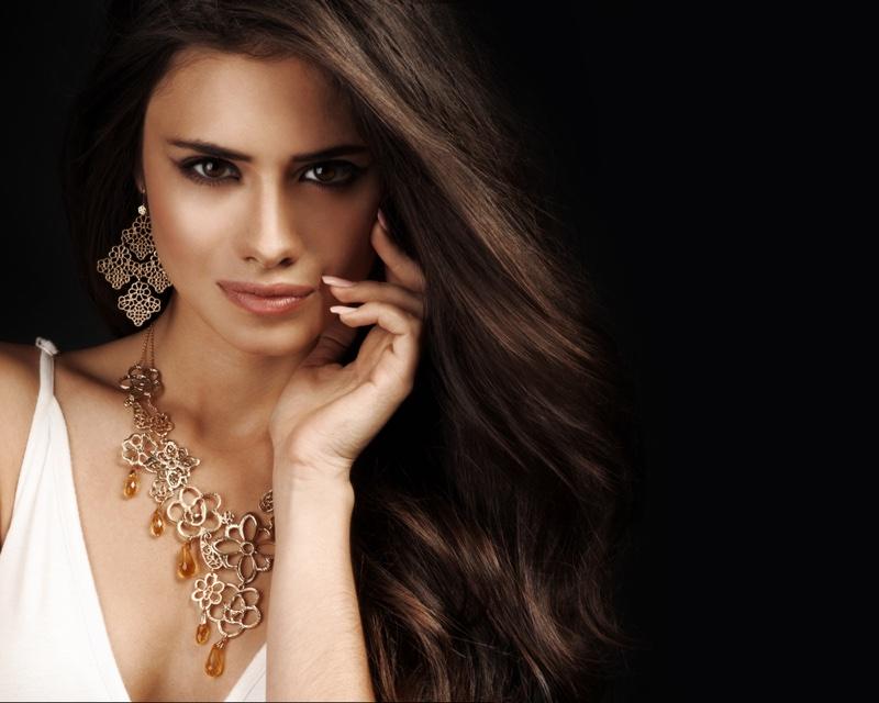 Brunette Model Statement Earrings Necklace Jewelry