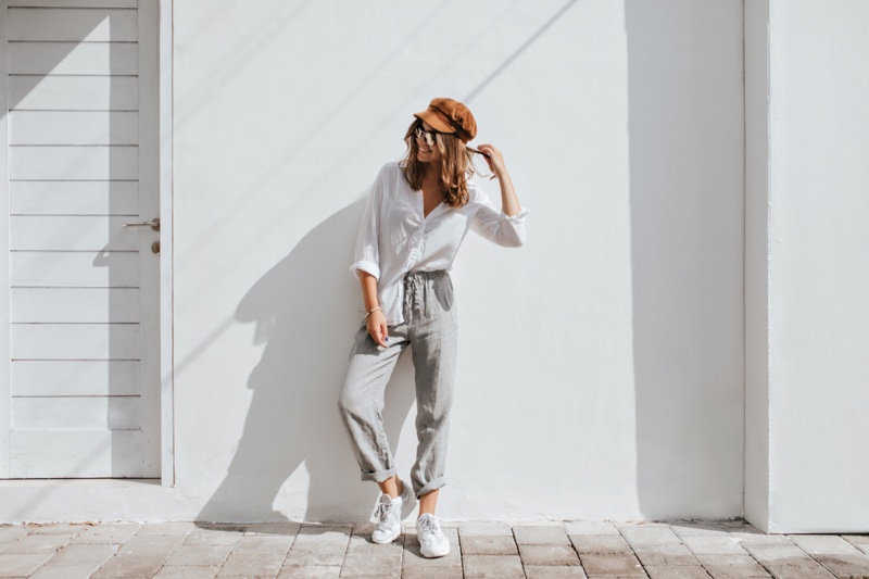 Casual Outfit Shirt Grey Pants Sneakers
