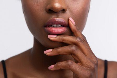 Closeup Black Woman Pink Manicure Glossy Lips