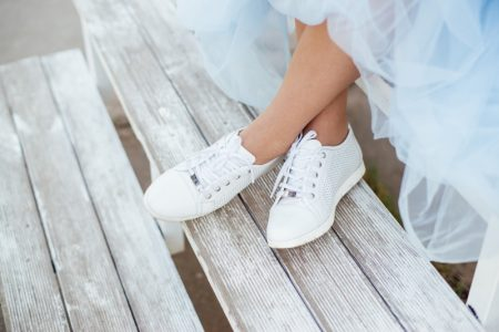 Cropped Woman White Sneakers Skirt
