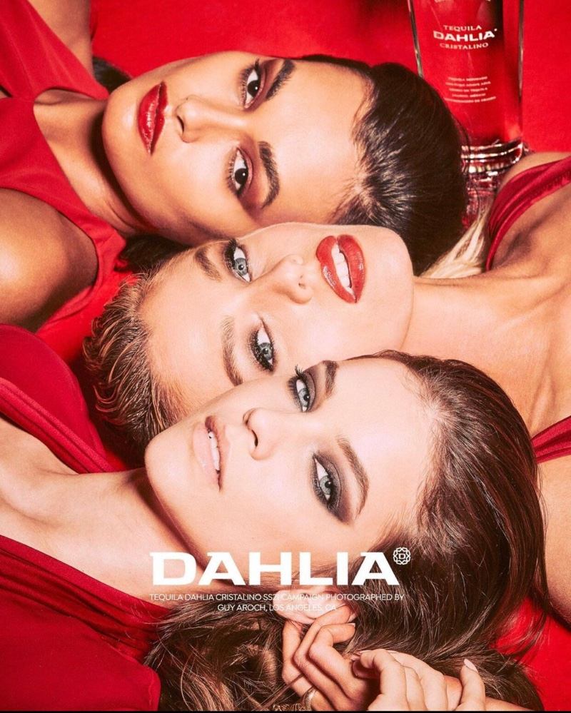 Barbara Palvin, Stella Maxwell, and Gizele Oliveira get their closeup for Dahlia Tequila campaign.