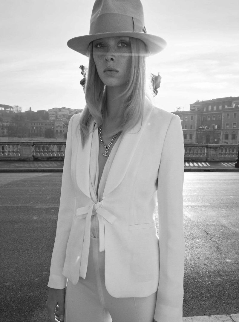 Dani Witt Poses in Romantic White Outfits for Vanity Fair Italy