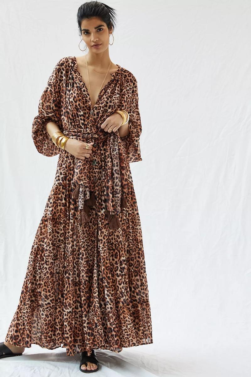Erika Peña Leopard Tiered Maxi Dress $525
