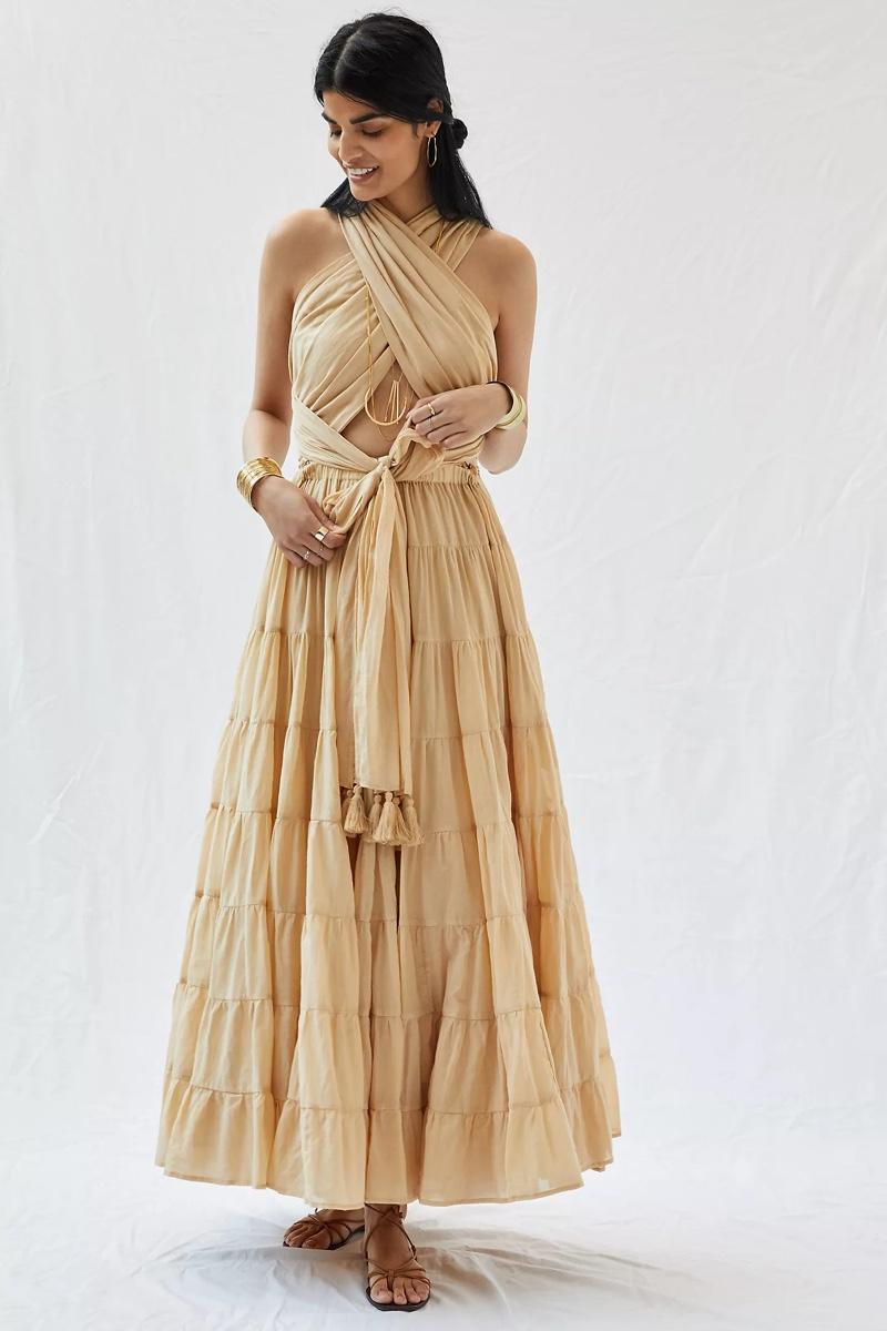 Erika Peña Selma Belted Maxi Dress $225