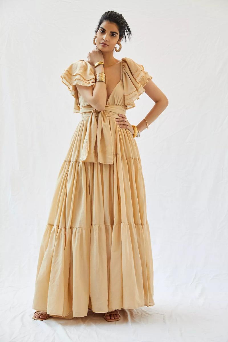 Erika Peña Vale Ruffled Maxi Dress $315