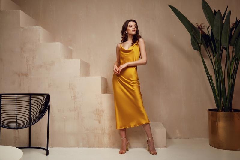 Fashion Model Yellow Satin Slip Dress Cowl Neck