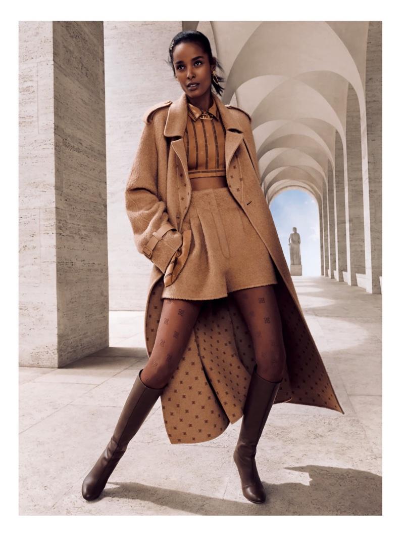 Malika Louback stars in Fendi fall-winter 2021 campaign.