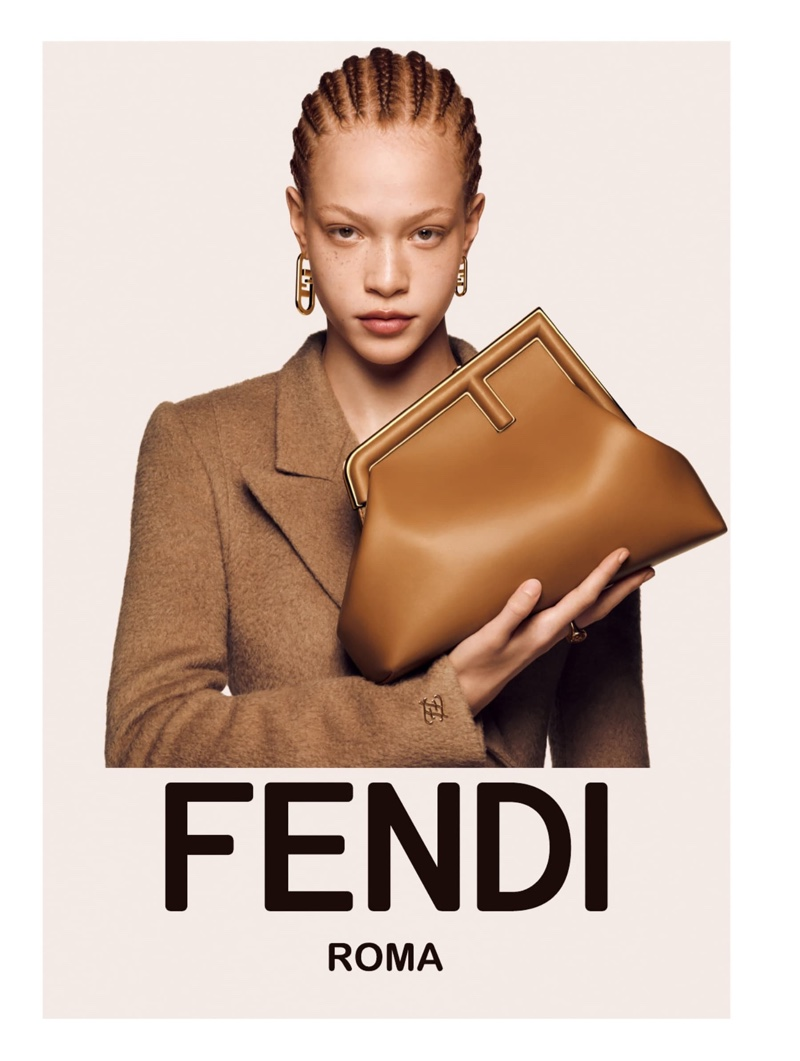 Tianna St. Louis poses with the Fendi First bag for Fendi fall-winter 2021 campaign.