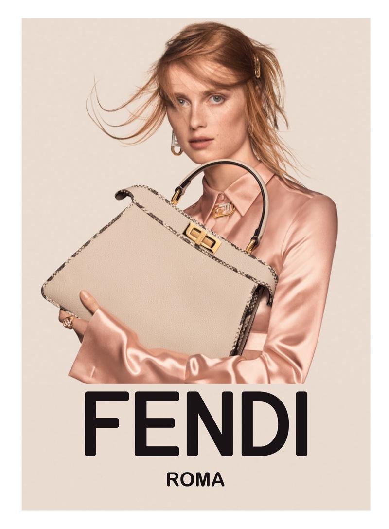 Rianne van Rompaey fronts Fendi fall-winter 2021 campaign.