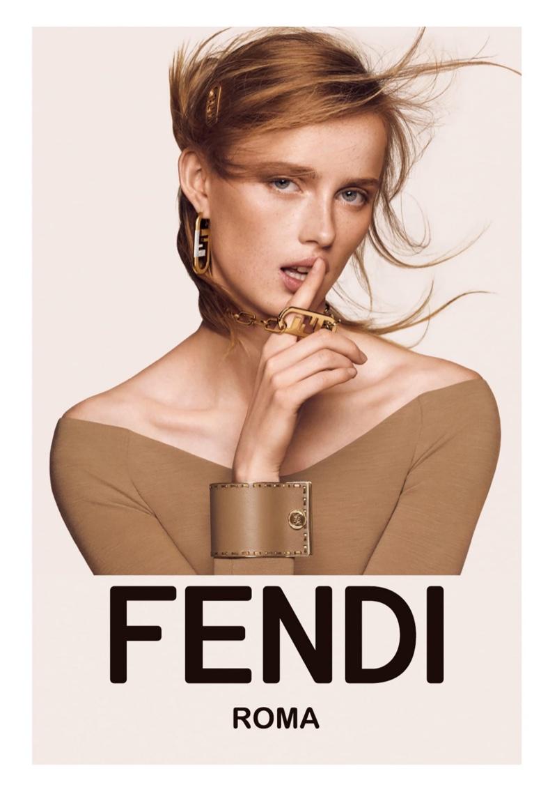 Model Rianne van Rompaey appears in Fendi fall-winter 2021 campaign.