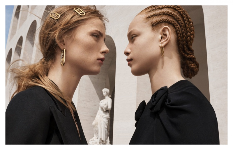 Rianne van Rompaey and Tianna St. Louis front Fendi fall-winter 2021 campaign.
