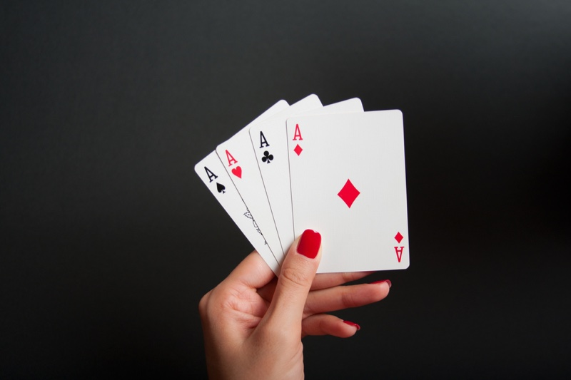 Four Aces Hand Woman Cards