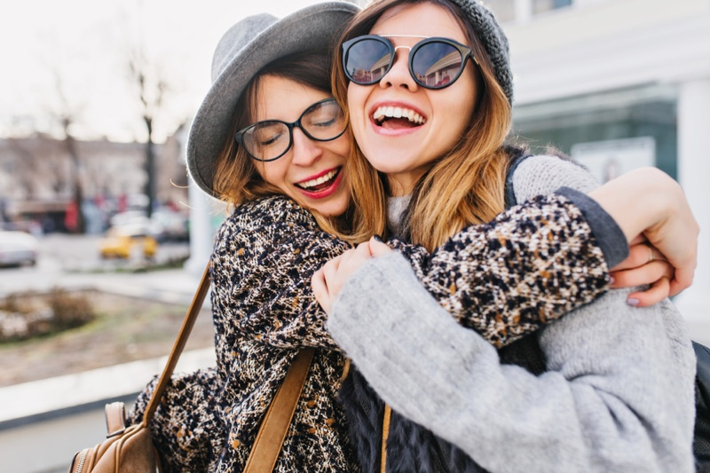 Friends Hugging Sweaters Stylish