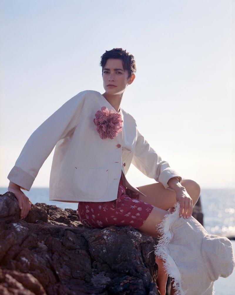 Model Louise de Chevigny poses in Giorgio Armani summer 2021 campaign.