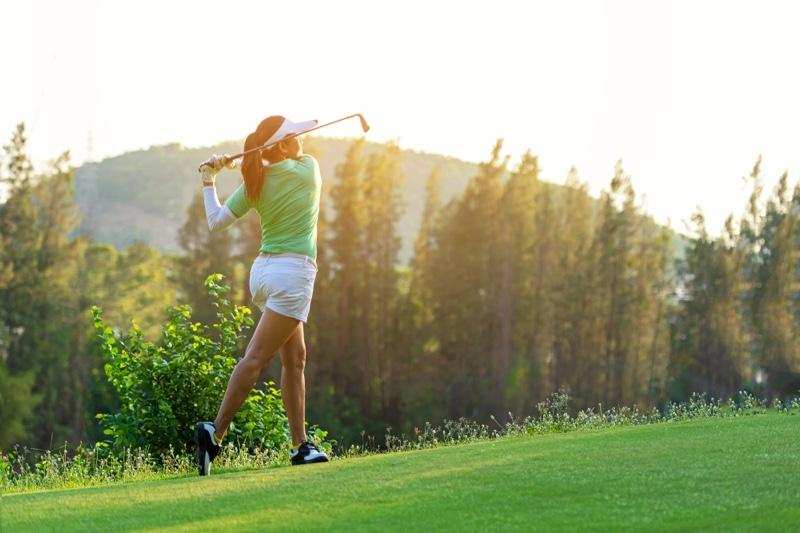 Golf Course Woman Green Top