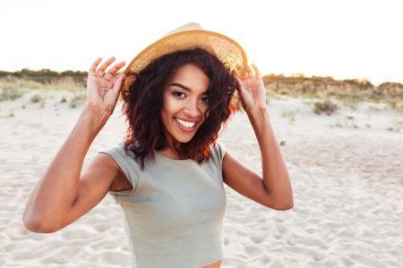 Happy Healthy Black Woman Beach Summer Hat