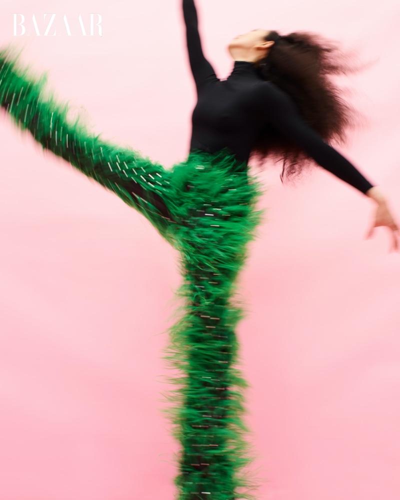 Ballet dancer Stella Abrera wears Bottega Veneta look.