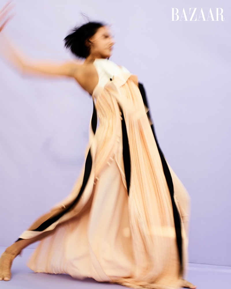 Melissa Verdecia poses in Valentino dress.