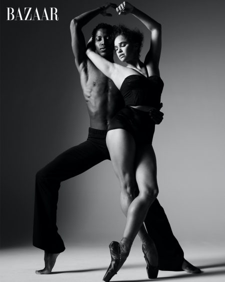 Calvin Royal III and Misty Copeland pose in black and white image.