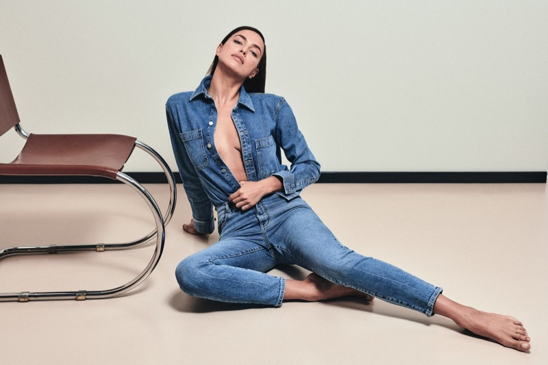 Showing some skin, Irina Shayk appears in DL1961 Denim fall-winter 2021 campaign.