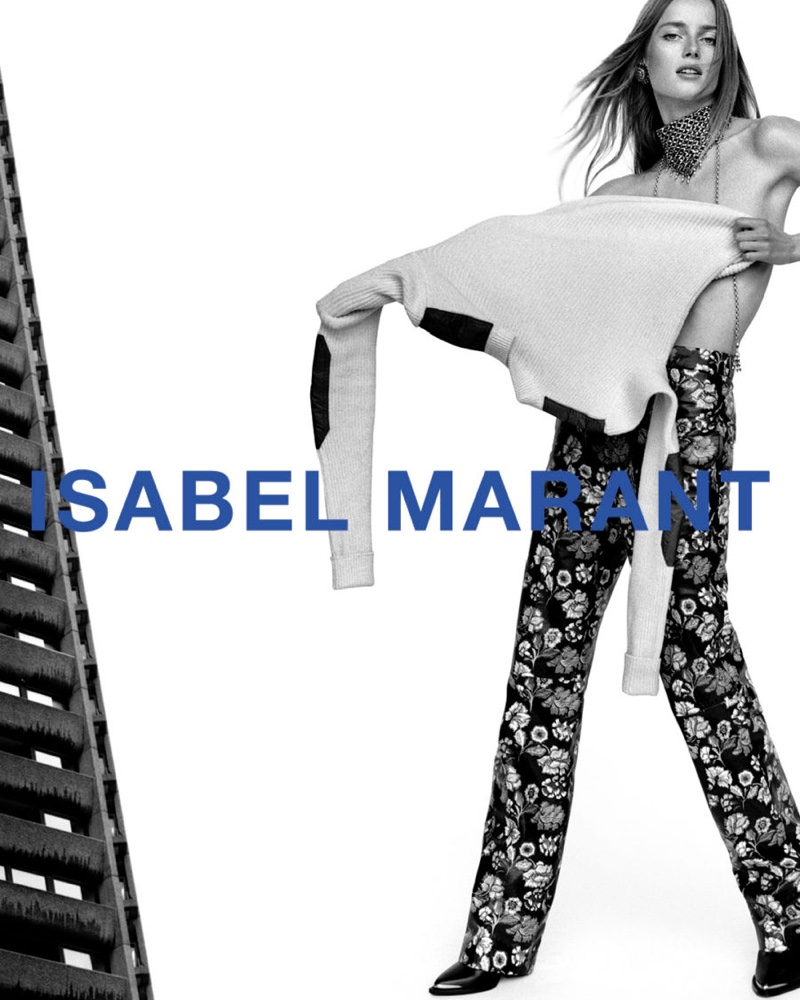 Rianne van Rompaey poses with a sweater for Isabel Marant fall-winter 2021 campaign.