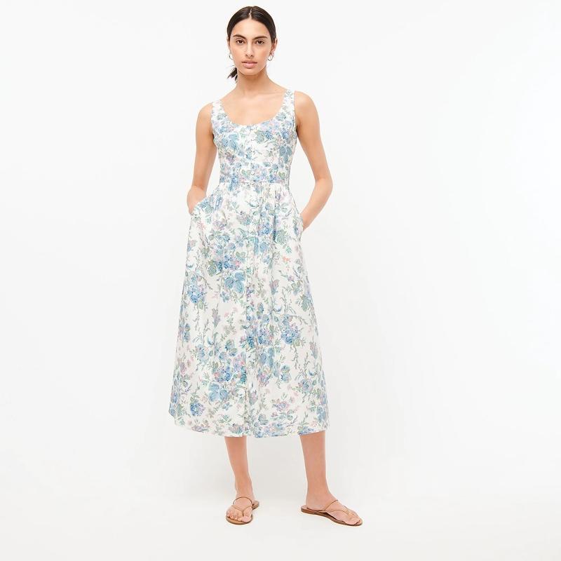 J. Crew Button-Front Cotton Poplin Dress in English Garden $138