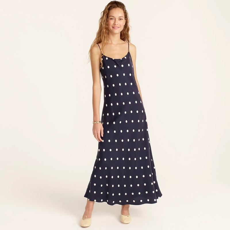 J. Crew Eco Cupro Slip Dress in Dots $138
