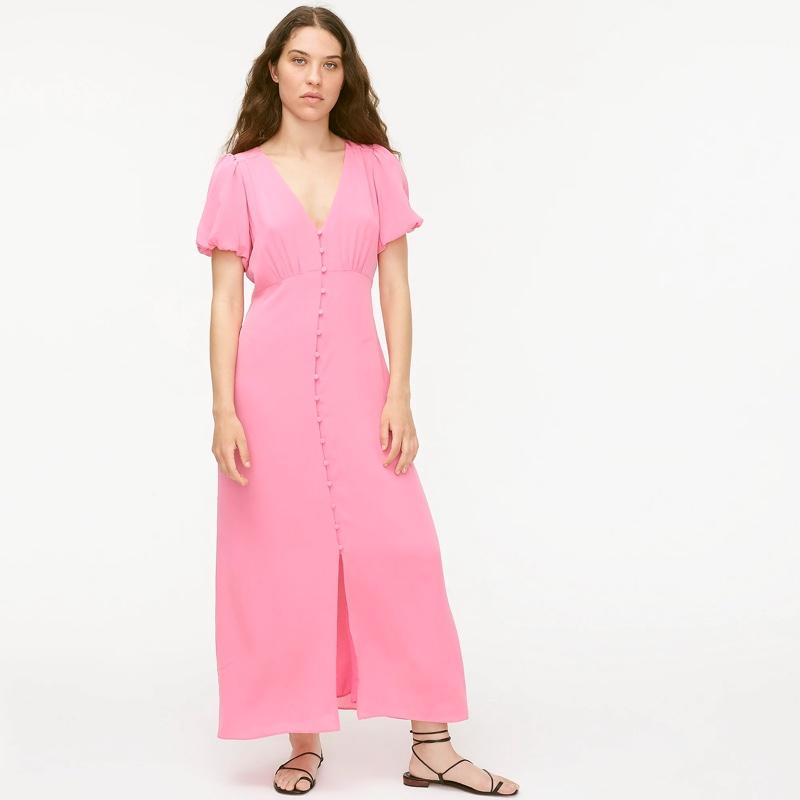 J. Crew Puff-Sleeve Silk Midi Dress $174.50