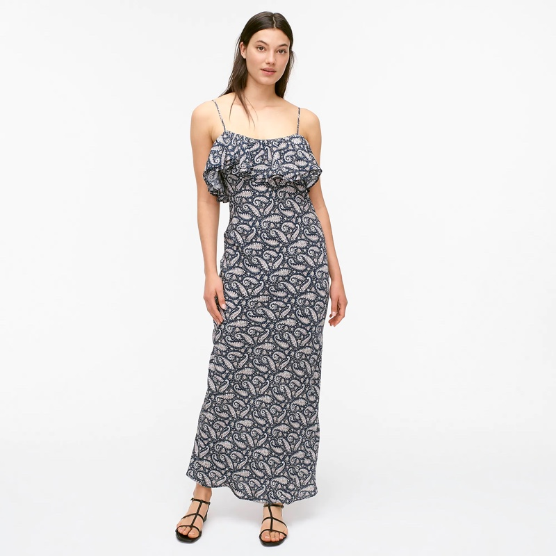 J. Crew Ruffle Silk Slip Dress in Midnight Paisley $274.50