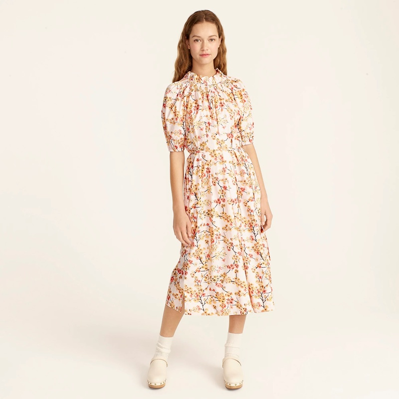 J. Crew Smocked Neck Puff-Sleeve Dress in Cherry Blossoms $128