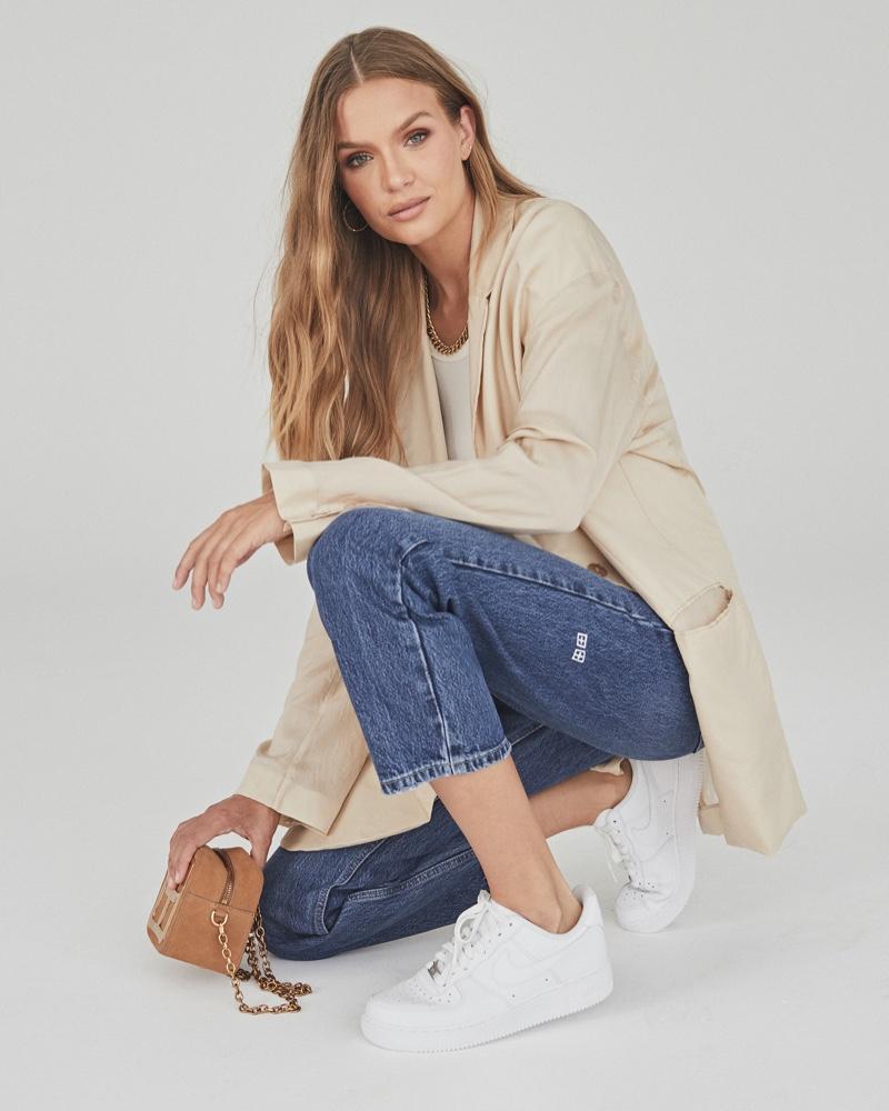 Model Josephine Skriver wears The Brooklyn jean for Ksubi fall 2021 campaign.