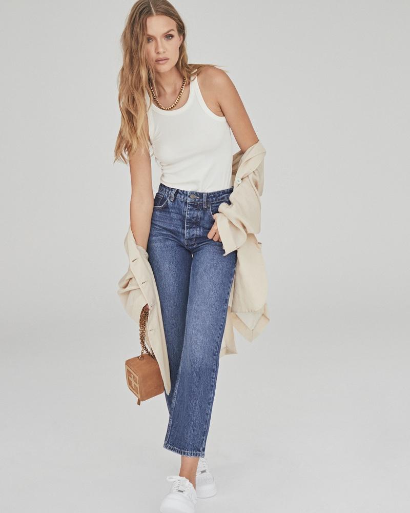 Model Josephine Skriver wears the Brooklyn jean in Ksubi fall 2021 campaign.