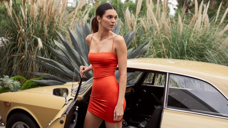Wearing a bodycon dress, Kendall Jenner fronts Kendall for About You campaign.