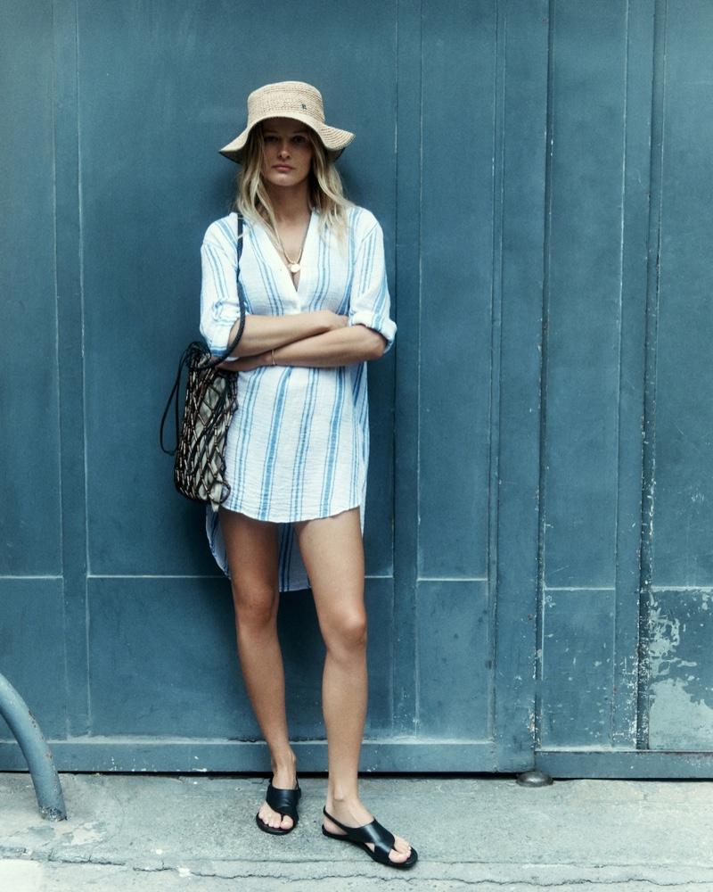 Edita Vilkeviciute wears striped tunic in Massimo Dutti Sunset summer 2021 editorial.