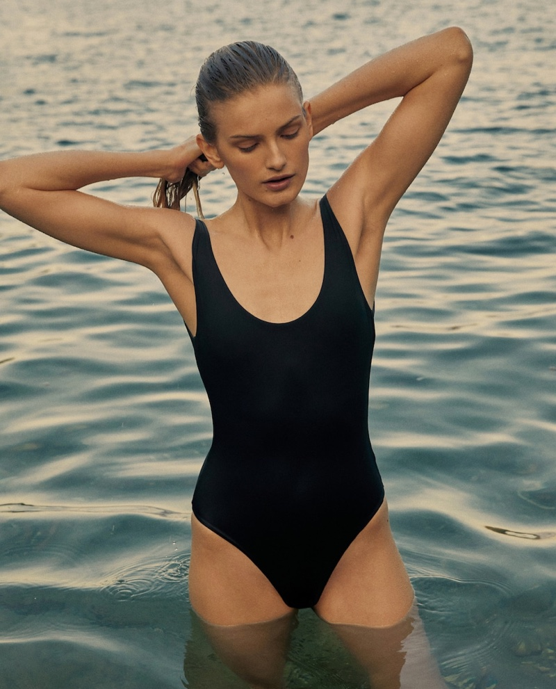 Massimo Dutti Swimsuit with Low-Cut Back.