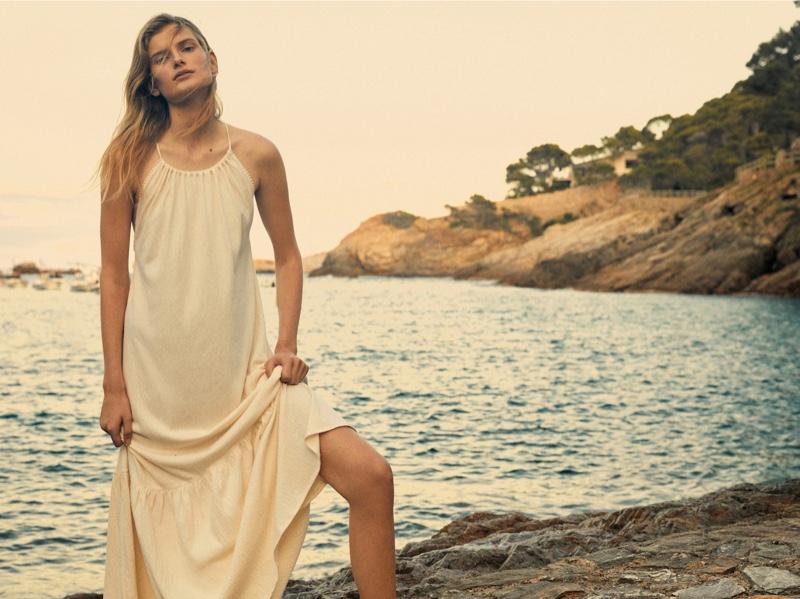 Massimo Dutti Long Crepe Halter Dress.