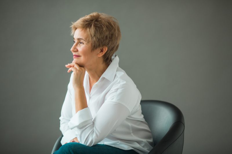 Mature Woman Messy Cut Hairstyle