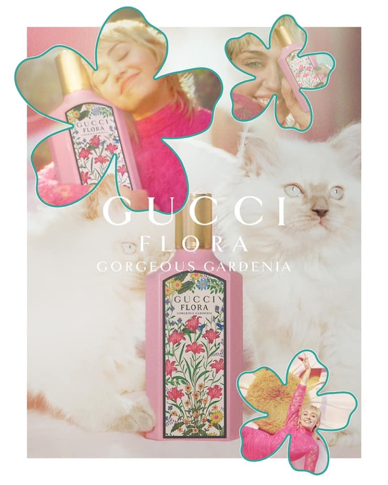 Singer Miley Cyrus poses for Gucci Flora Gorgeous Gardenia fragrance advertising campaign.